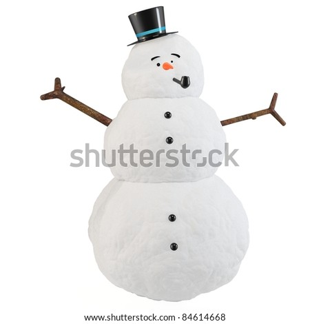 3d snowman with hat and pipe  isolated on white - stock photo