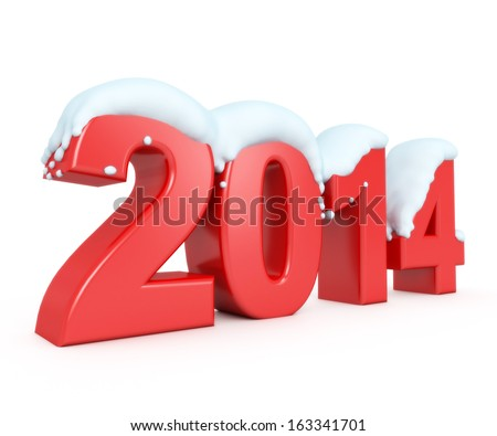 3d snowy new year 2014 - stock photo