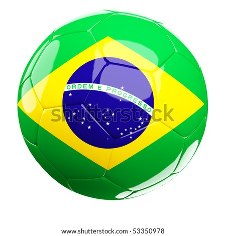 3d soccer ball and brazil flag isolated on white