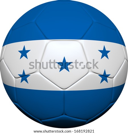 3d soccer ball design with Honduran flag on white background. - stock photo