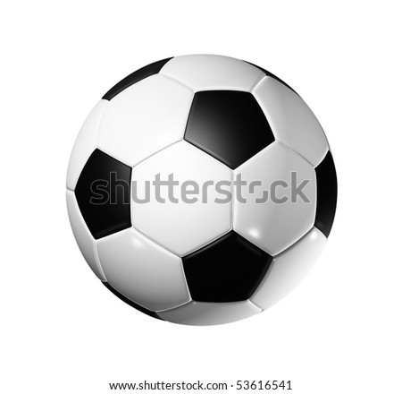 3D soccer ball isolated on white with clipping path - world football cup 2014 - stock photo