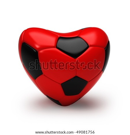 3d soccer ball shaped as a heart isolated on white
