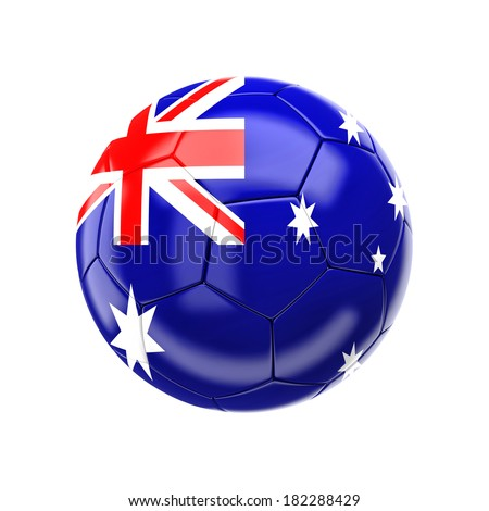 3d soccer ball with australia flag - stock photo