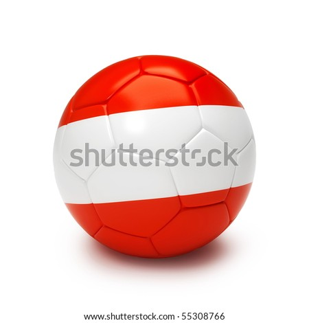 3D soccer ball with Austrian flag isolated on white - stock photo