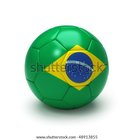 3D soccer ball with brazil flag, world football cup 2010. Isolated on white - stock photo