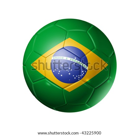 3D soccer ball with brazil flag, world football cup 2014. isolated on white with clipping path - stock photo