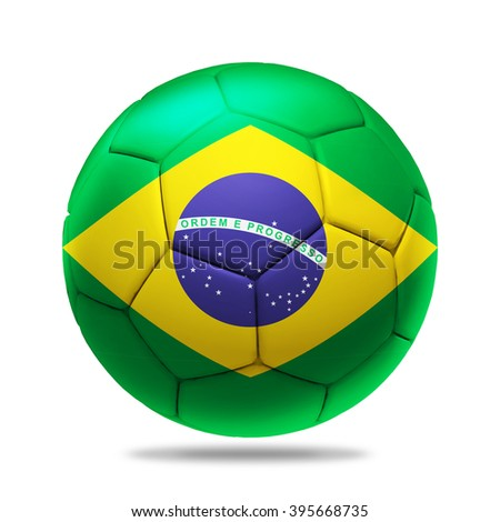 3D soccer ball with Brazil team flag, isolated on white
