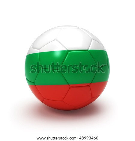 3D soccer ball with Bulgaria team flag, world football cup 2010. Isolated on white - stock photo