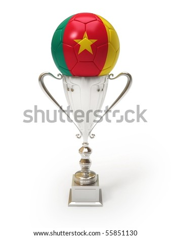 3D soccer ball with Cameroonian team flag on trophy cup