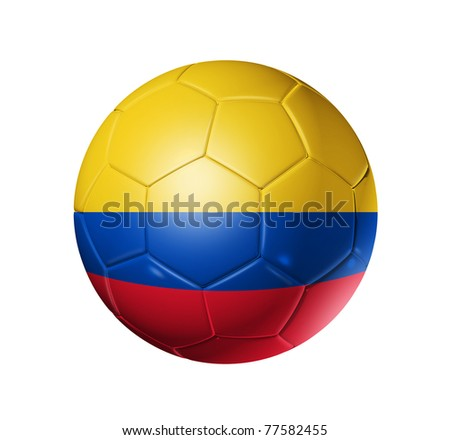 3D soccer ball with Colombia team flag. isolated on white with clipping path. Brazil 2014 - stock photo