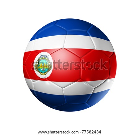 3D soccer ball with Costa Rica team flag. isolated on white with clipping path. Brazil 2014 - stock photo