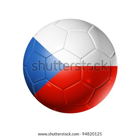 3D soccer ball with Czechoslovakia / Czech Republic team flag, world football cup 2010. isolated on white with clipping path - stock photo