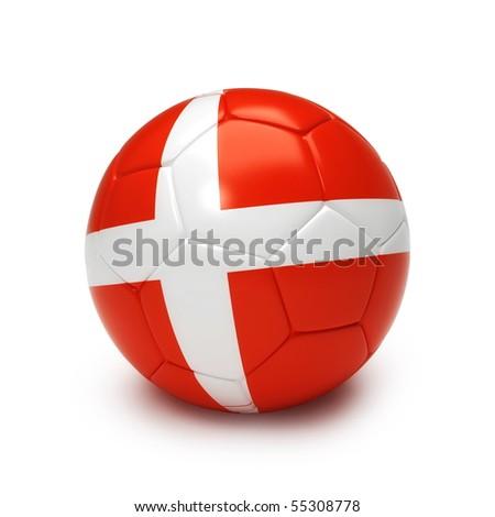3D soccer ball with Denmark flag isolated on white - stock photo