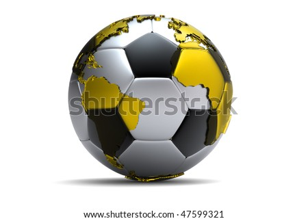 3d soccer ball with extruded continents - stock photo