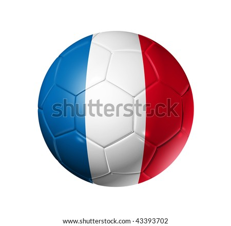 3D soccer ball with France team flag, world football cup 2014. isolated on white with clipping path - stock photo
