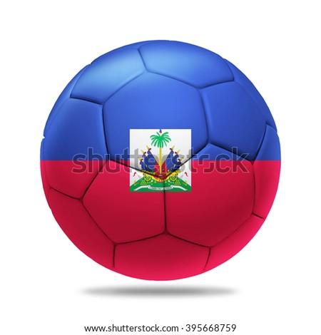 3D soccer ball with Haiti team flag, isolated on white - stock photo