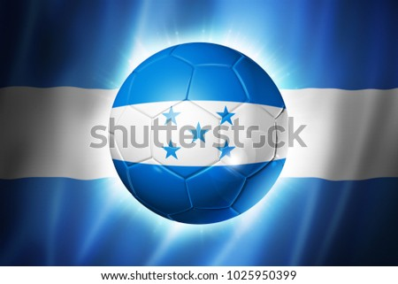 3D soccer ball with Honduras team flag, world football cup Brazil 2014