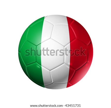 3D soccer ball with Italy team flag, world football cup 2014. isolated on white with clipping path - stock photo