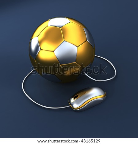 3D soccer ball with mouse - stock photo