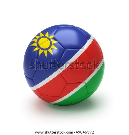 3D soccer ball with Namibia flag, world football cup 2010. Isolated on white - stock photo