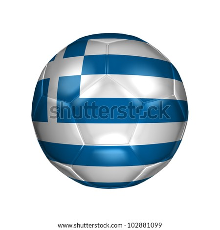 3D soccer ball with national flag. Country Greece