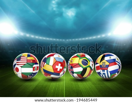 3D soccer ball with nations team's flags - stock photo