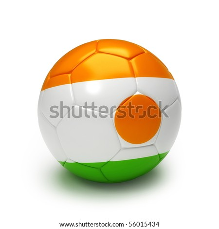 3D soccer ball with Niger flag isolated on white