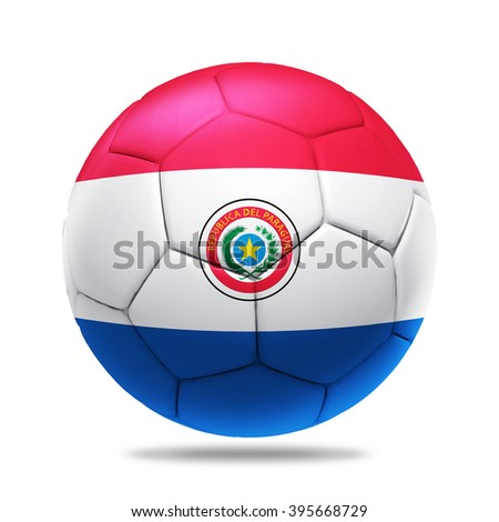3D soccer ball with Paraguay team flag, isolated on white - stock photo