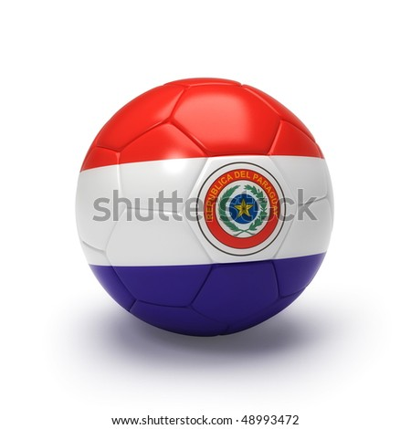 3D soccer ball with Paraguay team flag, world football cup 2010. Isolated on white