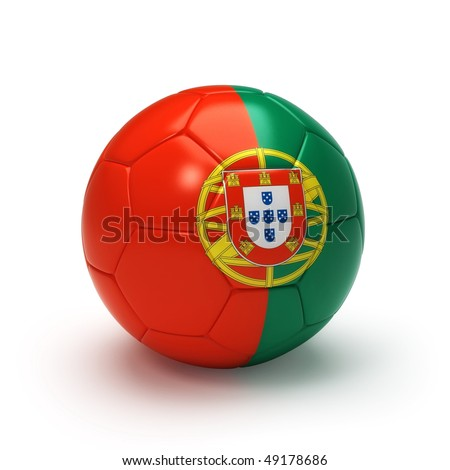3D soccer ball with Portugal flag, world football cup 2010. Isolated on white - stock photo