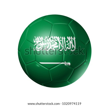 3D soccer ball with Saudi Arabia team flag. isolated on white.