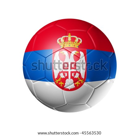 3D soccer ball with Serbia team flag, world football cup 2010. isolated on white with clipping path - stock photo