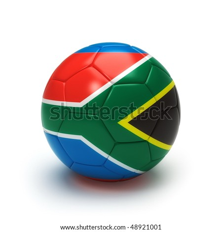 3D soccer ball with south africa flag, world football cup 2010. isolated on white with clipping path - stock photo