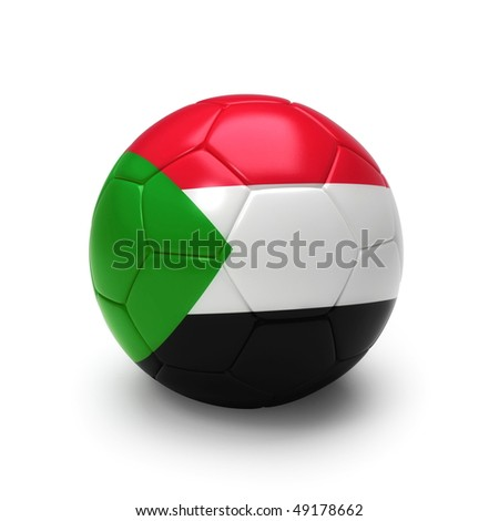 3D soccer ball with Sudan flag, world football cup 2010. Isolated on white - stock photo