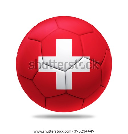 3D soccer ball with Switzerland team flag, isolated on white