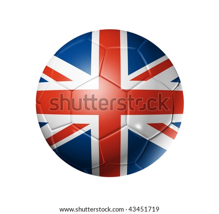 3D soccer ball with United Kingdom team flag, world football cup 2010. isolated on white with clipping path - stock photo