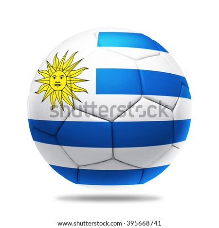 3D soccer ball with Uruguay team flag, isolated on white - stock photo