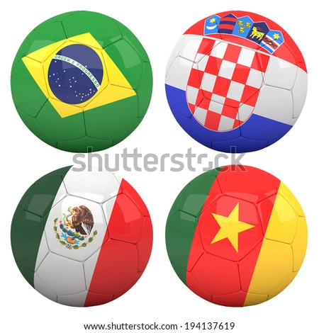 3D soccer balls with group A teams flags, Football Brazil 2014. isolated on white - stock photo