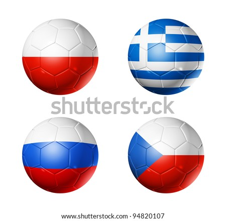 3D soccer balls with group A teams flags. UEFA euro football cup 2012. isolated on white - stock photo