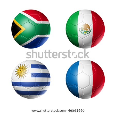 3D soccer balls with group A teams flags, world football cup 2010. isolated on white - stock photo