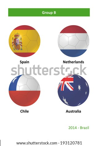3D soccer balls with group B country flags Football Brazil 2014 - stock photo