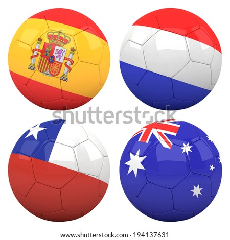 3D soccer balls with group B teams flags, Football Brazil 2014. isolated on white - stock photo