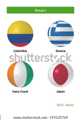 3D soccer balls with group C country flags Football Brazil 2014 - stock photo