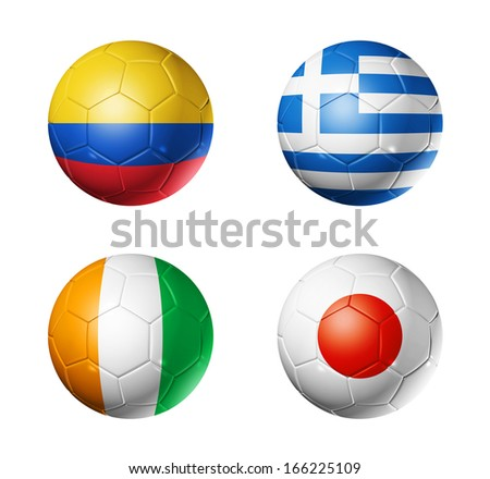 3D soccer balls with group C teams flags, Football Brazil 2014. isolated on white - stock photo
