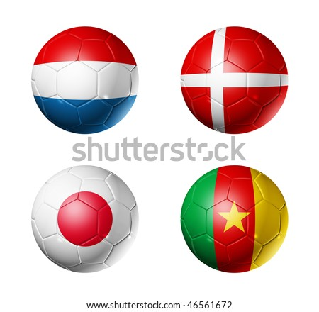 3D soccer balls with group E teams flags, world football cup 2010. isolated on white - stock photo