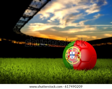 3D Soccer Stadium with Ball, grass and Flag of Portugal. 3D rendering