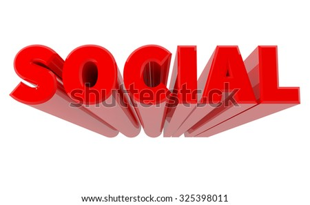 3D SOCIAL word on white background 3d rendering - stock photo