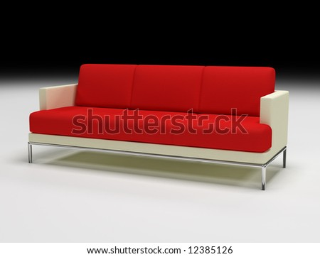 3d sofa red and beige