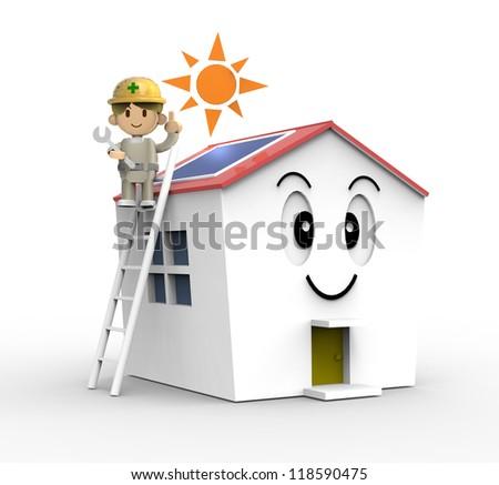 3D - Solar house - stock photo