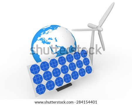 3d solar panel wind mill and earth globe